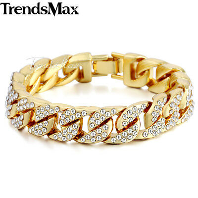 """Gold Plated Chain Bracelet Hip Hop Mens Women 14mm 8.5"""" Iced-out Curb Cuban Link"""