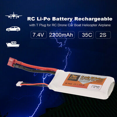 ZOP POWER RC Li-Po Battery 7.4V 2200mAh 35C 2S Rechargeable +T Plug for RC S2S4