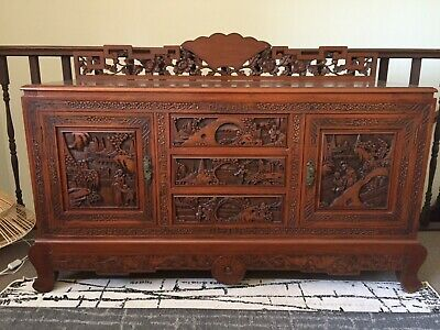 Antique Oriental Carved Buffet/ Sideboard