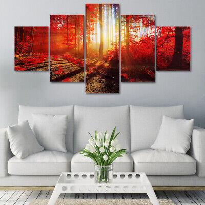 5Pcs Modern Abstract Canvas Print Painting Picture Wall Mural Hanging Home Decor