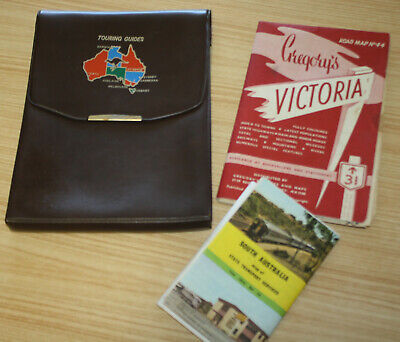 Vintage Australian Touring Guides Pouch + Victoria Road Map & S.A Transport Map