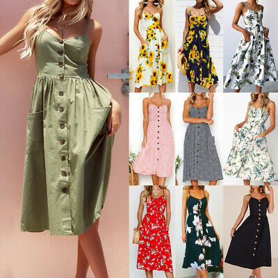 UK Womens Ladies Floral Strappy Cami Buttons Summer Beach Sun Holiday Midi Dress