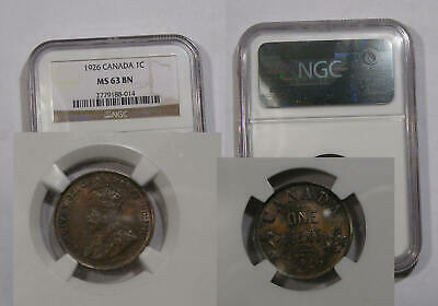 1926 Canada Cent Ngc Ms63 Bn Rare Inv#357-B2