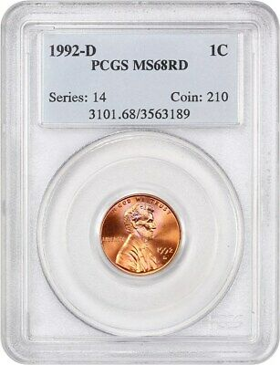 1992-D 1c PCGS MS68 RD - Lincoln Cent