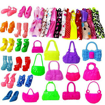 30Pcs Fashion Dresses Clothes Handbag High Heel Shoes For Barbie Doll Toy