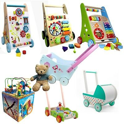 Baby Active Wood Walker Running Learn Car Cart Doll Pram Infant