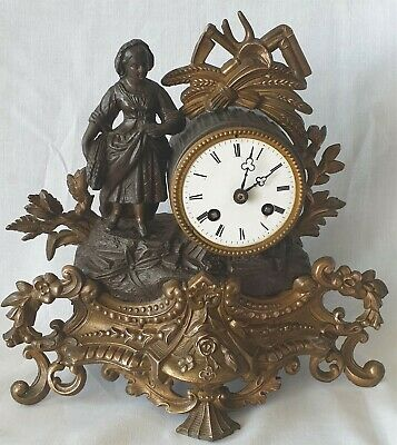 Antique Mantel Clock French Clock Bronze And Brass 19c Pendulum 8 Day Bell Strik