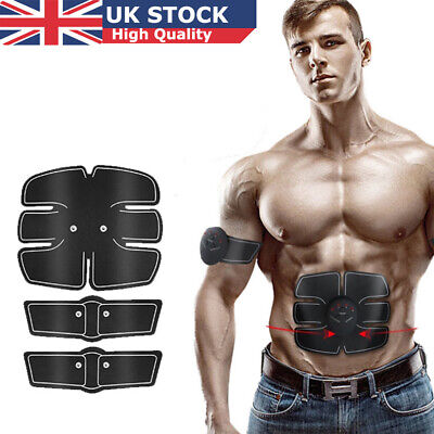 UK Rechargable Fitness Abdominal Muscle Trainer ABS Stimulator Toner USB/Battery