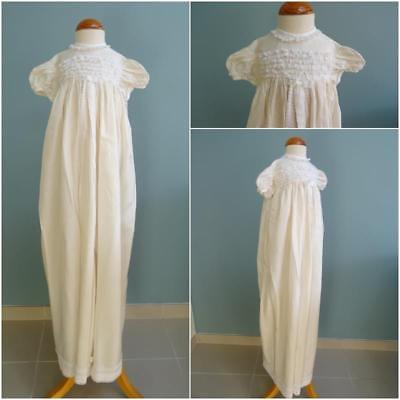 Vintage Christening Gown Dress 1950s Babys Cream Fabric Lace Ribbon Frill