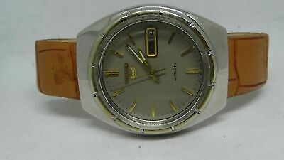 Vintage Seiko 5 Day&date Automatic Gray Color Original Dial Golden Figure Watch