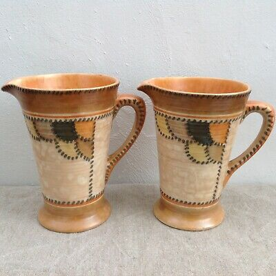 Pair Charlotte Rhead Art Deco Jugs Patch & Stitch Crown Ducal (Patches Vase)