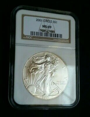 US 2001 American Silver Eagle Dollar Certified Graded NGC MS69