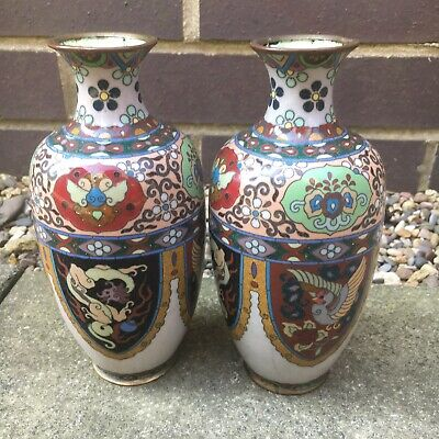 Rare Pair Of Antique Japanese Cloisonne Enamel Vases With Dragons and Birds