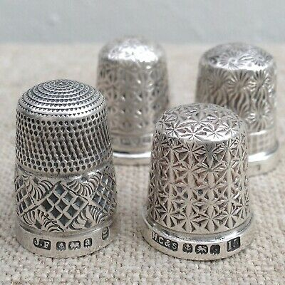 Four Sterling Silver Thimbles - Charles Horner, James Fenton, Henry Griffith