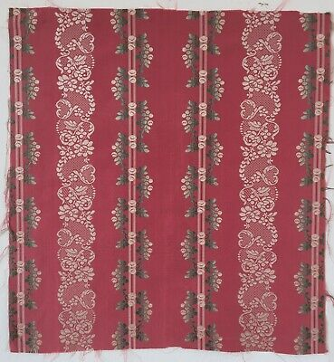 Lovely Early 19th C. French Silk Brocade Woven Stripe Fabric   - (2655)