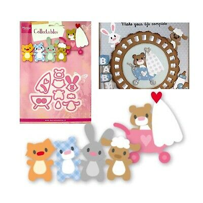 Baby Animals Metal Die Cut Eline's Marianne Cutting Dies Cat,Lamb,Bear,Bunny