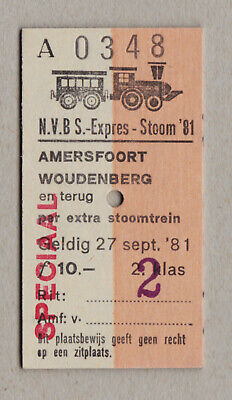 Nvbs Expres Stoom 81 Netherlands Railway Ticket / Fahrkarte (428)