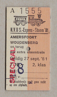 Nvbs Expres Stoom 81 Netherlands Railway Ticket / Fahrkarte (429)
