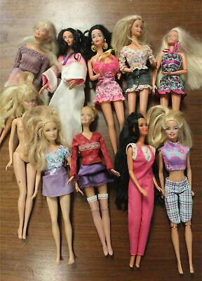 Mixed Lot of 10 Mattel Barbie Dolls Clothes Vintage & Modern For Play or Parts