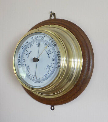 Excellent Large Antique Brass Ships Barometer On Oak Mount - Fully Working
