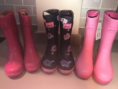 JOULES Girls Wellies Welly Boots Cat Floral Raindrops Sz 1 &  3 FreeUKP&P
