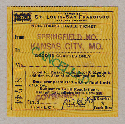 St Louis San Francisco Railway Company Ticket / 1 Fahrkarte (367)