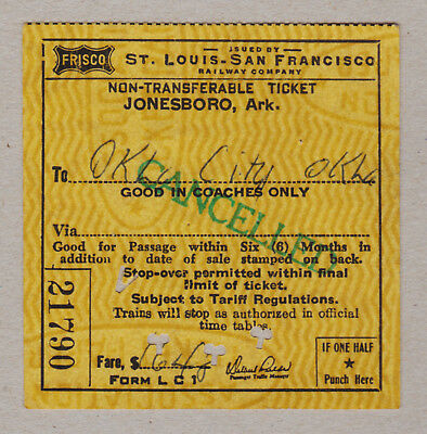 St Louis San Francisco Railway Company Ticket / 1 Fahrkarte (368)