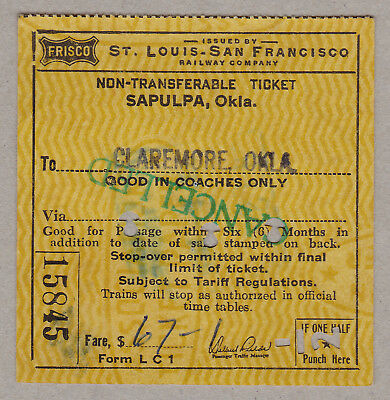 St Louis San Francisco Railway Company Ticket / 1 Fahrkarte (238)