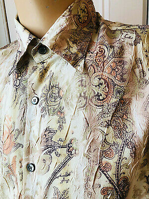 "80'S Patterned Shirt Silky Floral New Wave Retro Disco Party 46 X 17"" X-Large"