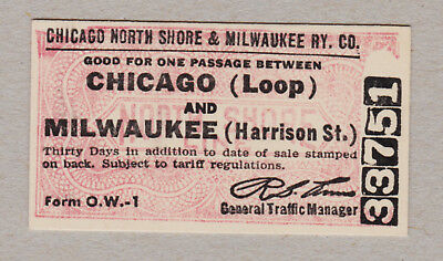 Chicago North Shore Milwaukee Railway Ticket / 1 Fahrkarte (434)