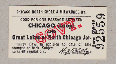 Chicago North Shore Milwaukee Railway Ticket / 1 Fahrkarte (433)