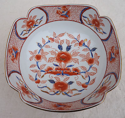 Salad Square Bowl Flower Butterfly Hand Painted Gilt Porcelain Kutani Japan