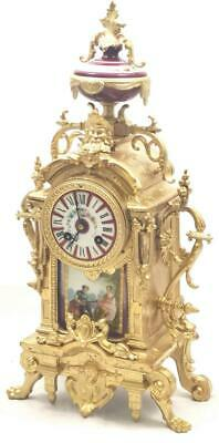 Antique Mantle Clock Beautiful French Gilt & Red Sevres Bell Striking C1880