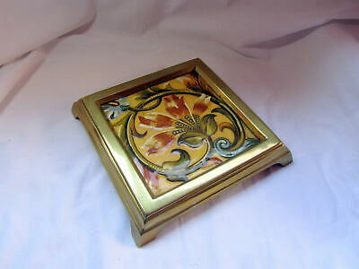 An Antique Brass And Mintons Tile Teapot Stand