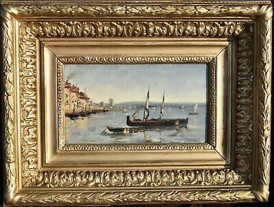 French school late 19th Century Fishing Boats at Anchor. Oil Painting.