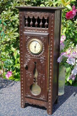 Antique 1920's French Breton Armoire Carved Oak Table Clock Arts And Crafts Chic
