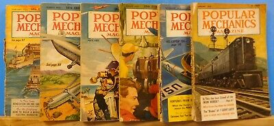 Popular Mechanics Magazine Lot of (6) Issues 1952-1955
