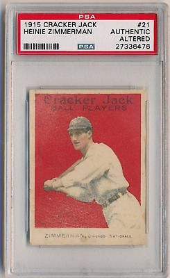 HEINIE ZIMMERMAN 1915 Cracker Jack E145-2 #21 PSA A AUTHENTIC ALTERED CUBS