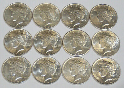 12 90% Silver Peace Dollars Very Nice Condition 1922 1923 1924 1925