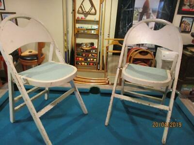 Vtg Pair Of Solid Kumfort Wooden Folding Chairs Art Deco Style