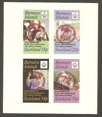 BERNERA 1985 Queen Mother GIRL GUIDES 75th Anniv RED OP IMPERF Minisheet
