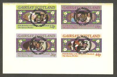 GAIRSAY 1985 Queen Mother GIRL GUIDES 75th Anniv BLACK OP IMPERF Minisheet