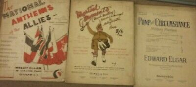 Collectable piano sheet music, military themed, from 1940s & 50s, three books