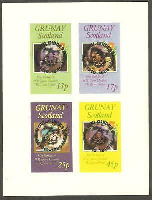 GRUNAY 1985 Queen Mother GIRL GUIDES 75th Anniv BLACK OP IMPERF Minisheet