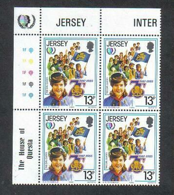 JERSEY 1985 GIRL GUIDES 75th Anniv IYY PLATE BLOCK