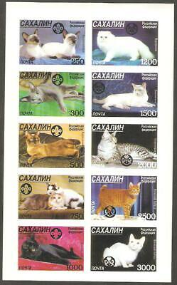 SAHKALIN IS 1998 SCOUTS &  GUIDES Emblems CATS Minisheet of 10