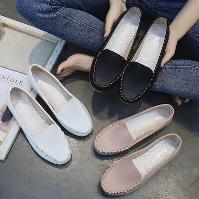 Womens PU Leather Slip on Loafers Casual Moccasin Gommino Flats Driving Shoes SZ