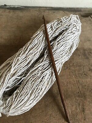 Antique Wooden Hand Carved Crochet Hook LARGE Bunch Early Linen Thread AAFA