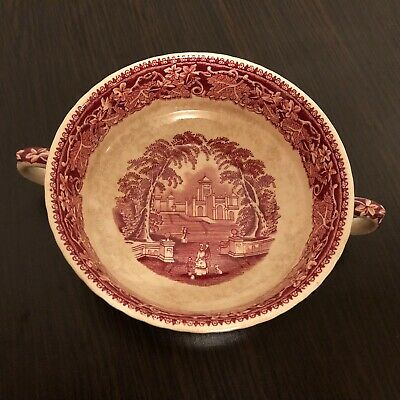 Masons Ironstone China Made In England Red Vista Soup Bowl With Handles