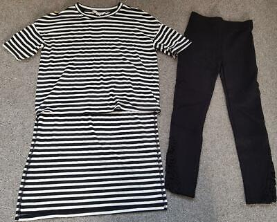 Gorgeous Girls River Island 2 Piece Outfit, Leggings &  Long Line Top 7-8 Yrs